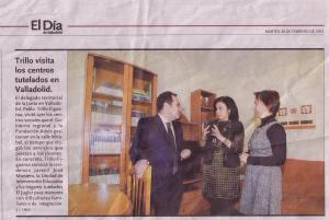 Pablo Trillo, Mercedes Cantalapiedra y Aurora Corona en un momento de la visita a los Hogares.