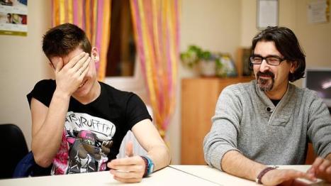 Alfonso de Nicolás y Michael en un momento de la entrevista
